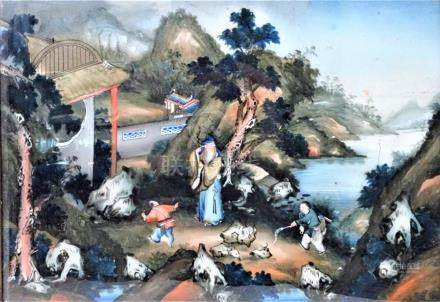 19th C Chinese Reverse Painting on Glass