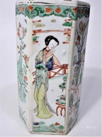 Chinese 6 Sided Famille Verte Vase 18th C