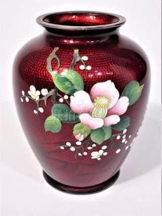 Japanese Ginbari Pigeon Blood Cloisonne Vase