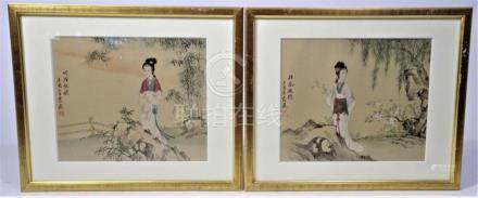 Chinese, Framed water color on silk