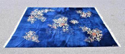 Early Chinese Royal Blue Room Size Rug