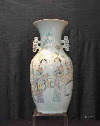CHINESE PORCELAIN VASE WITH APPLIED HANDLES