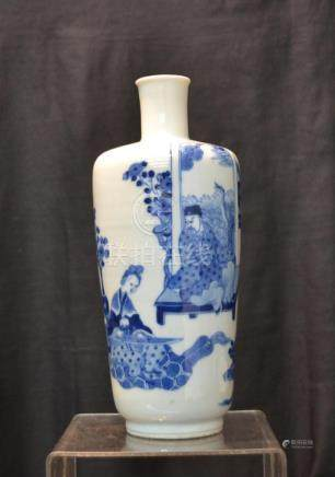 CHINESE BLUE & WHITE PORCELAIN VASE WITH FIGURAL