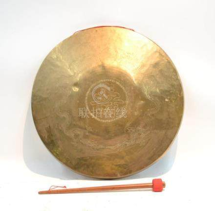 LARGE CHINESE BRASS GONG WITH ENGRAVED DRAGONS