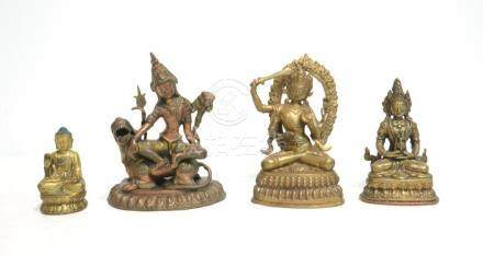 (4) ASIAN BRONZE SEATED DIETY FIGURES