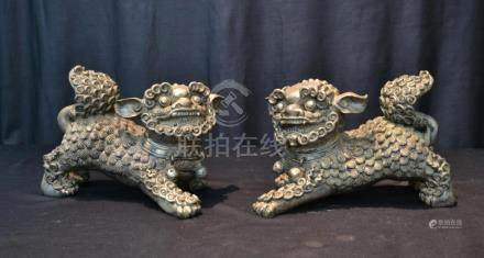 "(Pr) CHINESE SILVERED FOO DOGS - 12"" x 6"" x 7"""