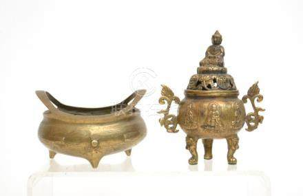 (2) CHINESE BRONZE INCENSE BURNERS