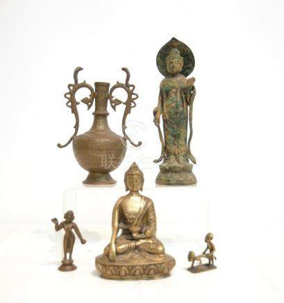 (2) ASIAN BRONZE BUDDHA , BRONZE NUDE &