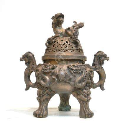 LARGE CHINESE TRIPOD INCENSE BURNER