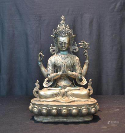 LARGE CHINESE SILVERED SEATED DIETY