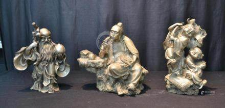 (3) CHINESE SILVERED FIGURES INCLUDING