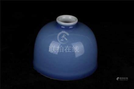 A CHINESE BLUE GLAZED WATER POT, YONGZHENG PERIOD, QING DYNA