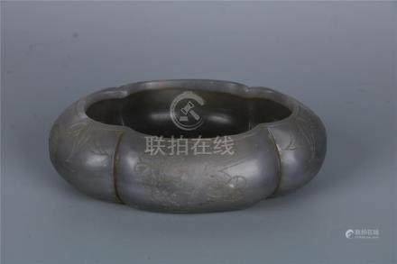 A FINE AND RARE CHINESE GREEN JADE WATER POT, QING DYNASTY