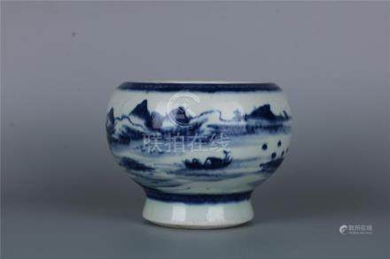 A CHINESE BLUE AND WHITE 'LANDSCAPE' BOWL, QING DYNASTY