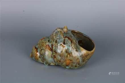 A CHINESE CONCH SHELL-SHAPED PORCELAIN BRUSH WASHER, QING DY