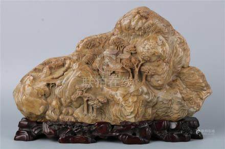 A CHINESE SOAPSTONE 'LANDSCAPE' CARVING ORNAMENT, QING DYNAS