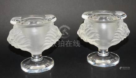 Pair of Lalique Tete De Lion Crystal Candleholders