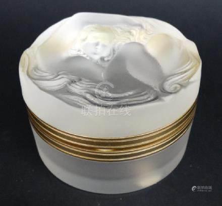 "Lalique ""Daphne"" Hinged Metal Crystal Box"