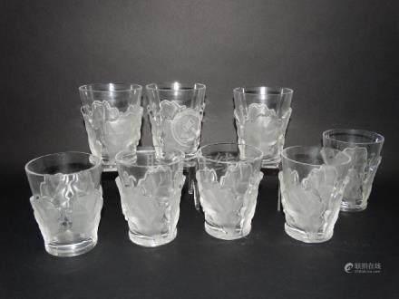 Lot of 8 Lalique Chene Oak Leaf Tumbler Glasses