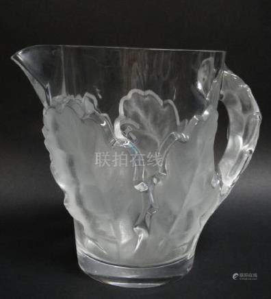 Lalique Chene Frosted Oak Leaf Beverage Pitcher