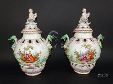 Pair of  KPM  Covered Urns