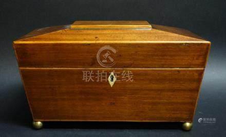 19c. English Regency Mahogany Wooden Tea Caddy