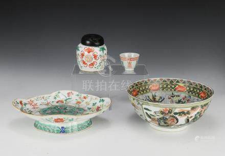 (5) CHINESE PORCELAIN BOWLS & JARS, 19TH - 20TH C.