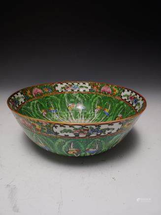 CHINESE CERAMIC PUNCH BOWL CABBAGE & BUTTERFLY