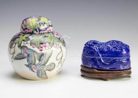 (2) CHINESE CERAMIC SCHOLAR'S & GINGER JARS