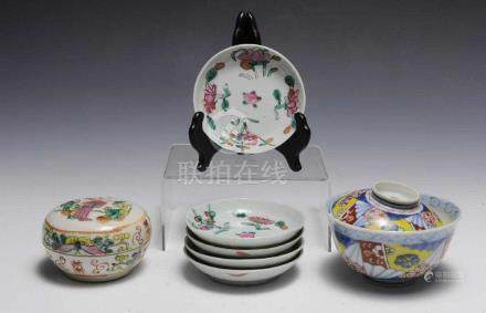 7 PIECES OF CHINESE WHITE GROUND PORCELAIN, 19TH C