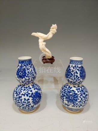 (3) CARVED WHITE CORAL & TWO SMALL HULU VASES