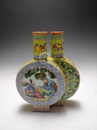 CHINESE FAMILLE ROSE DOUBLE MOON FLASK