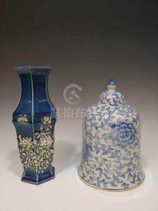 (2) CHINESE-STYLE PORCELAIN BELL & VASE