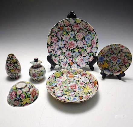 (7) CHINESE MILLIFLEUR DISHES
