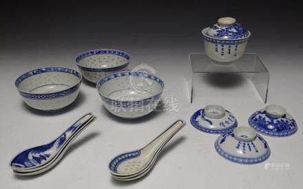 (14) CHINESE EXPORT PORCELAIN BOWLS BLUE AND WHITE