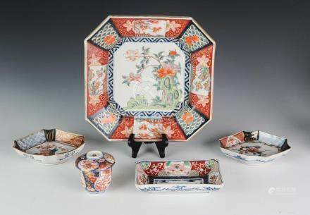 (5) JAPANESE PORCELAIN PLATES & CUPS 19TH - 20TH