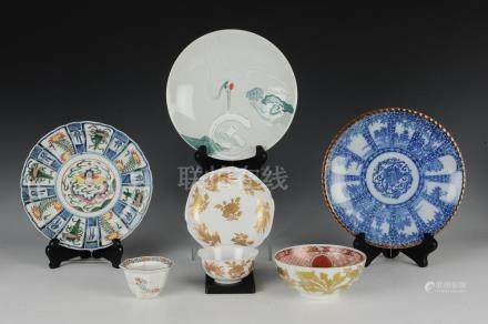 (7) JAPANESE PORCELAIN PLATES & CUPS 19TH -20TH C.