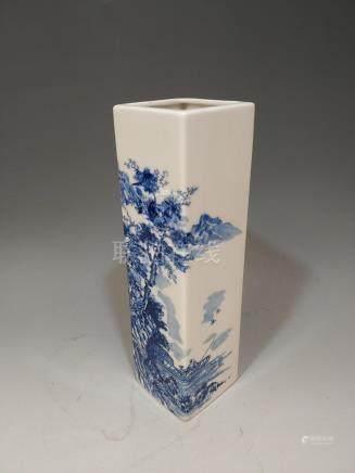 JAPANESE BLUE & WHITE SCENIC VASE