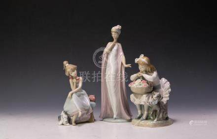 (3) LLADRO CHITCHAT GIRL, BREATHLESS, GIRL FLOWERS