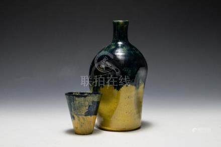 JUGTOWN PINCHED POTTERY BOTTLE AND CUP