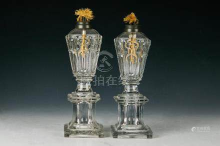(2) 19TH CENTURY BLOWN & MOLDED WHALE OIL LAMPS