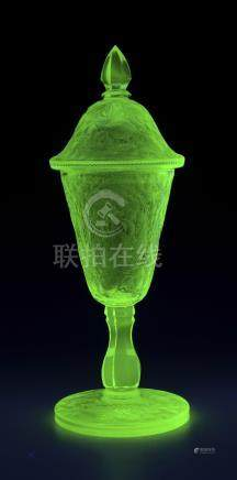 URANIUM GLASS ETCHED AND CUT POKAL