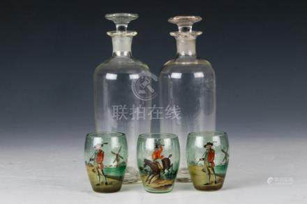(5) FREE-BLOWN DECANTERS & PAINTED DECORATED CUPS