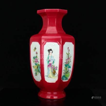 Beautiful Red Glaze Famille Rose Porcelain Vase