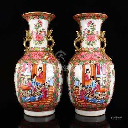 Gilt Gold Famille Rose Porcelain Double Ears Vases