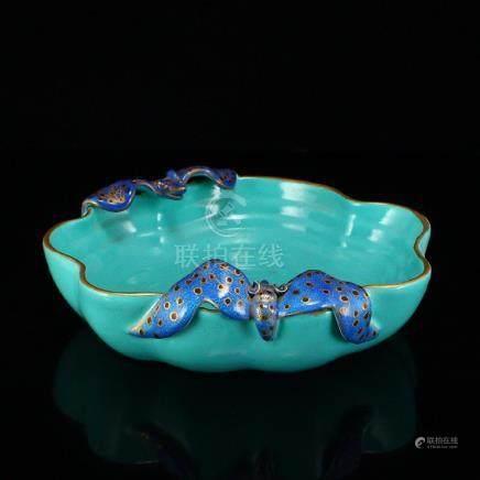 Beautiful Gilt Edge Turquoise Glaze Brush Washer w Bats