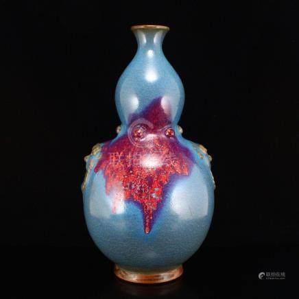 Chinese Variable Glaze Jun Kiln Porcelain Gourd Vase