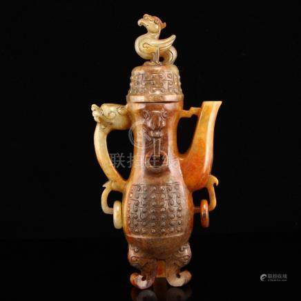 Vintage Hetian Jade Dragon Phoenix 3 Legs Wine Pot