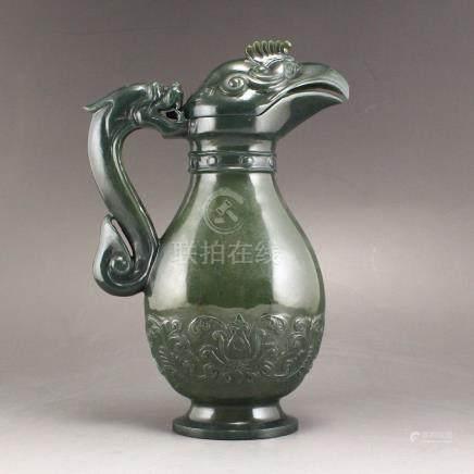 Superb Deep Green Hetian Jade Dragon Phoenix Wine Pot
