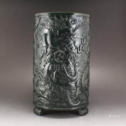 Vintage Hetian Jade Low Relief Luck Dragon Brush Pot